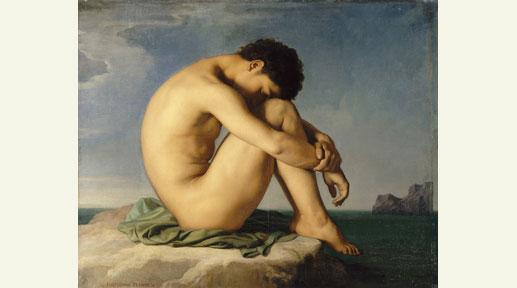 """""""Jeune homme nu assis au bord de la mer"""" - Hippolyte Flandrin - Huile sur toile - 1836 - Paris, musée du Louvre"""