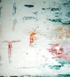 Déliquescence - Vval 1996 - Acrylique sur aluminium et carton