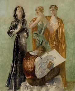 Peinture de Pedro Pruna - Les Trois Grâces De La Mode - Huile - 1934