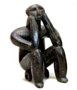"""Le """"Penseur de Cernavoda"""" - Statue néolithique roumaine - VIe siècle avant J.-C"""