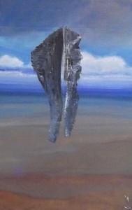 """Peinture de Jacques KERZANET - """"Séné, le rocher du grand Rannou"""" - Cycle du Grand Rannou : Ethnologiquement, Rann en breton amène à Rang, la mise en ordre, la séparation, le passage du Chaos Ou-Ranien, la coupure, la section, qui donne naissance à l'espace, au temps, à l'échange, à l'altérité - scène 1 - le cycle commence par le jet du rocher - huile au couteau, brosse et pinceau sur carton d'emballage - 57x35cm - juin 2011"""